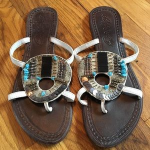 Shoes - White embellished thong sandals